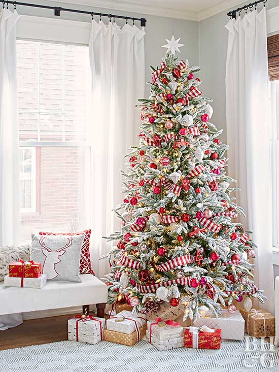 To Get The Look, Choose Stripped Ribbon To Stand In For A Classic Garland.  Coordinating Ornaments Finish This Classic Christmas Tree ...